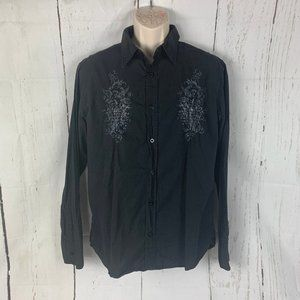 BKE Slim Fit Cross Embellished Button Up Shirt